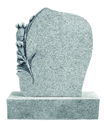 Flame 59 Carved Flower Headstone + Base