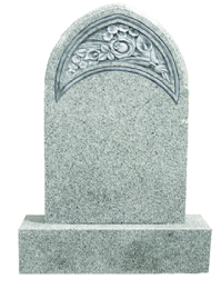 Flame 62 Carved Rose Flower Headstone + Base