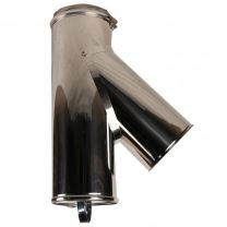 """45 Degree Tee + Cleaning Door - 6"""" Twin Wall Flue Pipe [150mm]"""