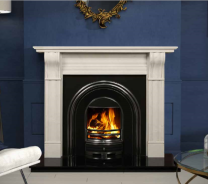 The Dublin Corbell Marble Fireplace Sorrento White