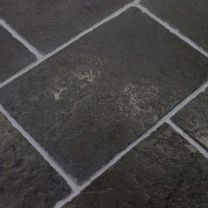 Antique Black Limestone Flagstone Tiles Hand Cut Edges Stone Flooring