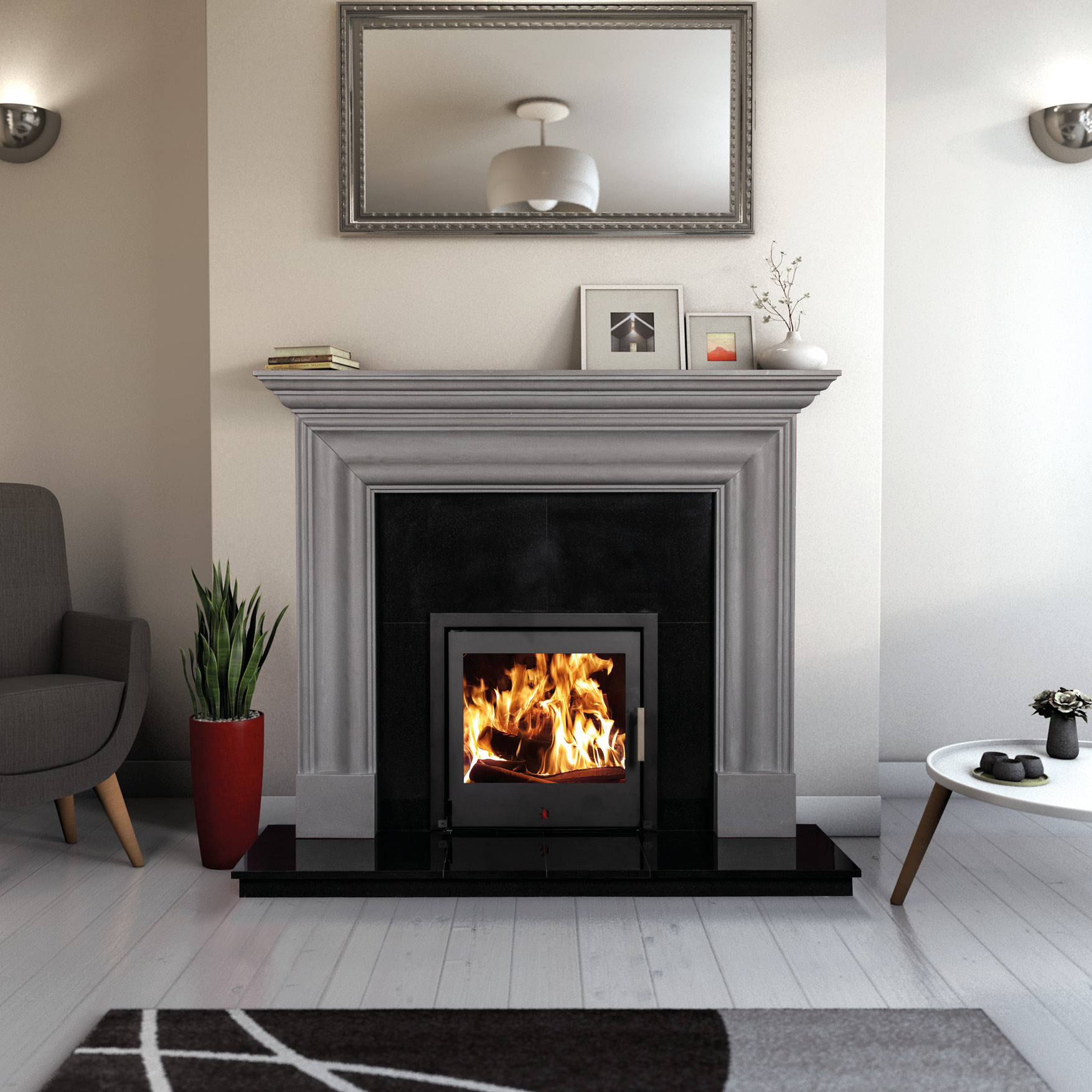 Grey Marble Fireplaces